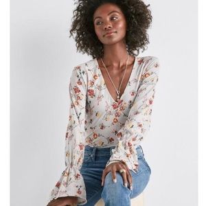 Lucky Brand floral wrap blouse